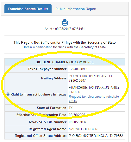 Big Bend Chamber of Commerce corporate registration with the State of Texas is forfeit.